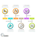 Horizontal timeline, 6 round elements with thin line icons Stock Photos