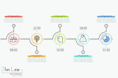 Horizontal timeline with 5 round elements, time indication, pictograms and text boxes. Creative infographic design layout. Daily appointments planning concept Stock Images