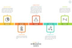 Horizontal timeline with 5 steps placed chequerwise, time indication, linear icons and text boxes. Daily planner concept. Simple infographic design layout royalty free illustration
