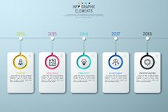 Horizontal timeline with year indication. Horizontal timeline with year indication, 5 lettered rectangle elements, linear icons and text boxes. Story of startup Stock Photography