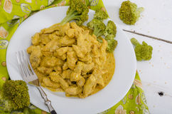 Horizontal top view of stewed chicken with curry sauce Royalty Free Stock Photo