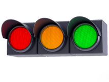 Horizontal traffic lights on white background. Horizontal traffic lights with red, yellow and green light Royalty Free Stock Image