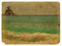 Horizontal tropical, Seychelles. Vieille carte postale. illustration stock
