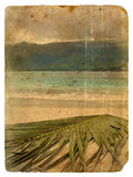 Horizontal tropical. Vieille carte postale. illustration stock