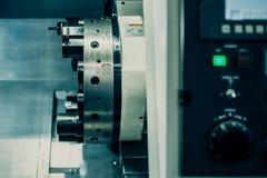Horizontal turning lathe machine with CNC Stock Photos