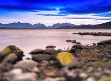Horizontal typical Norway landscape with bridge bokeh vignette b. Ackground backdrop nobody blank empty space sparse vivid vibrant bright color rich focus toy royalty free stock photo