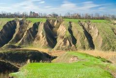 Horizontal ukrainien avec l'érosion du sol images stock