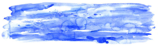 Horizontal ultramarine watercolor Royalty Free Stock Photos