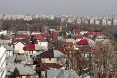 Horizontal urbain de l'hiver de Bucarest images libres de droits