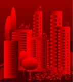Horizontal urbain rouge de vecteur Photographie stock