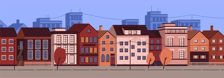 Horizontal urban landscape or cityscape with facades of residential buildings. Street view of district with modern. Living houses and trees. Colorful vector vector illustration