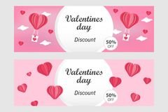 Horizontal Valentines Day Sale Banner Template in - Vector illustration in paper art / paper cut out style, pink and white stock illustration
