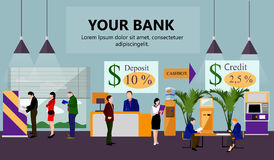 Horizontal vector banner with bank interiors. Finance and money concept. Flat cartoon illustration. Counter desk, cashier, consulting, currency exchange, ATM Stock Photo