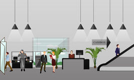 Horizontal vector banner with bank interiors. Finance and money concept. Flat cartoon illustration. Royalty Free Stock Photo
