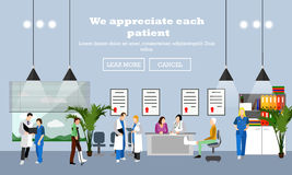Horizontal vector banner with doctors and hospital interiors. Medicine concept. Stock Image
