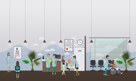 Horizontal vector banner with doctors and hospital interiors. Medicine concept. Patients passing medical check up. Flat cartoon illustration Stock Photography