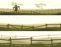 Horizontal vector banner farm fields with fence. Stock Images
