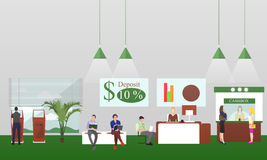 Horizontal vector banners with bank interiors. Finance concept illustration Stock Images