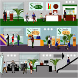 Horizontal vector banners with bank interiors. Finance and money concept. Flat cartoon illustration. Counter desk, cashier, consulting, currency exchange, ATM Stock Image