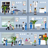 Horizontal vector banners with doctors and hospital interiors. Medicine concept. Patients passing medical check up Stock Image