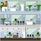 Horizontal vector banners with hospital interiors. Medicine concept. Medical check up and surgery operation room. Flat cartoon illustration Stock Images