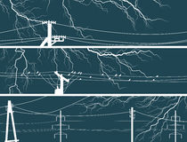 Horizontal vector banners of lightning at night. Royalty Free Stock Photo