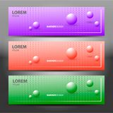 Horizontal vector banners with molecules design.Purple background with halftone pearls.Balls. vector illustration