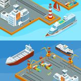 Horizontal vector banners with sea ships in port. Business sea transportation illustration Stock Images