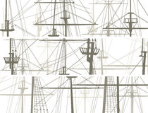 Horizontal vector banners of ship's masts and sailyards. Stock Image