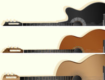 Horizontal vector banners of some types guitar. Stock Images