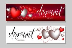 Horizontal vector banners word discount. Vector illustration EPS 10 of calligraphy, logotype, text as banner, quotation, detail, concept of internet clothes shop Stock Photos
