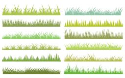 Horizontal vector green grass on white background. Horizontal green vector grass design elements on white background in flat style Royalty Free Stock Images