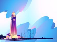 Lighthouse abstract banner. Horizontal vector illustration, abstract banner, concept, Lighthouse in bad weather, huge waves, in retro style, template for a vector illustration