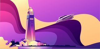 Lighthouse wave banner. Horizontal vector illustration, abstract banner, concept, Lighthouse in bad weather, huge waves, in retro style, template for a design vector illustration