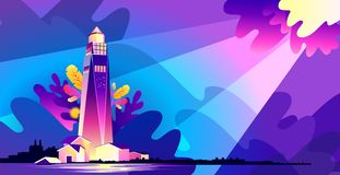 Lighthouse wave banner. Horizontal vector illustration, banner, concept, Lighthouse in bad weather, huge waves, in retro style, template for a design, marine stock illustration