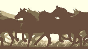 Horizontal vector illustration silhouette herd of horses. Stock Photo