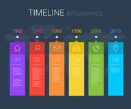 Horizontal vector timeline info graphic with line icons Royalty Free Stock Photos
