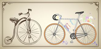 Horizontal vector vintage and modern bikes in the frame Stock Image