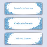 Horizontal vector web banners on the theme of winter. Web banner design. Set of horizontal vector web banners in modern style on the theme of winter with Royalty Free Stock Image