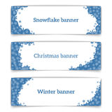 Horizontal vector web banners on the theme of winter. Web banner design. Set of horizontal vector web banners in modern style on the theme of winter with Royalty Free Stock Photography