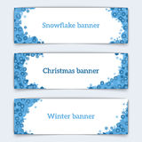 Horizontal vector web banners on the theme of winter. Web banner design. Set of horizontal vector web banners in modern style on the theme of winter with Royalty Free Stock Images