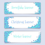 Horizontal vector web banners on the theme of winter. Web banner design. Set of horizontal vector web banners in modern style on the theme of winter with Royalty Free Stock Photo