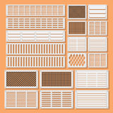 Horizontal ventilation shutters. Illustration of horizontal ventilation shutters. Set ventilation shutters different type. Isolated vector illustrations. Vector Stock Images