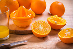 Horizontal version juice composition glass knife Royalty Free Stock Photo
