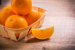 Horizontal version oranges in wicker basket on Stock Photography