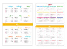 Horizontal and vertical pocket calendar. Horizontal pocket calendar on 2017 year. Vector template calendar for business on white background stock illustration