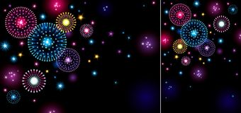 Holiday fireworks. Horizontal and vertical vector holiday backgrounds with many stars and fireworks on night dark sky Royalty Free Stock Photo