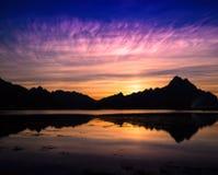 Horizontal vibrant Norway ocean mountains landscape Royalty Free Stock Image