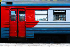 Horizontal vibrant Russian train carriage detail background back. Drop Royalty Free Stock Photography