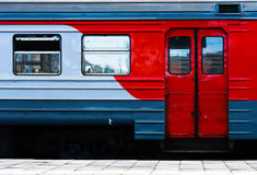 Horizontal vibrant Russian train carriage detail Royalty Free Stock Photos